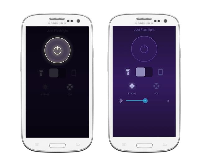 Интерфейс бесплатного телефонного фонарика Just Flashlight