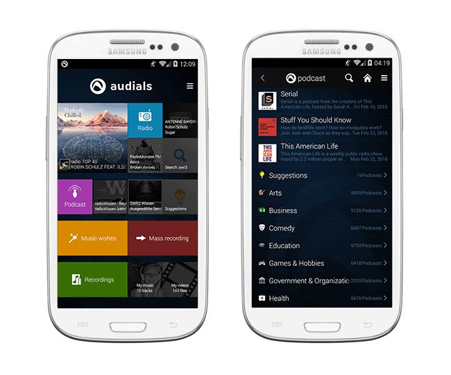 Скачайте радиовещание Audials Radio получай девайс лещадь Android OS