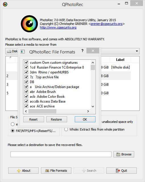 PhotoRec: выбор типов файлов для восстановления