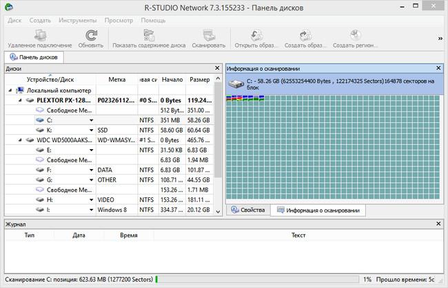 Программа R-STUDIO Network 7.3.155233 - Панель дисков