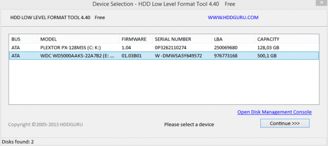 Интерфейс утилиты HDD Low Level Format Tool