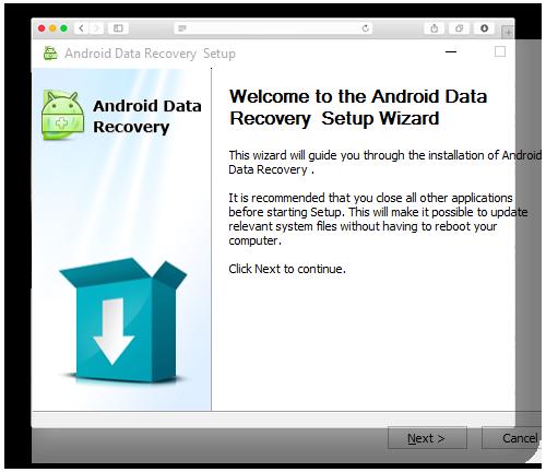 Окно установщика приложенияAndroid Data Recovery